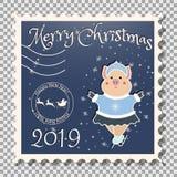 Figura do porco - donzela da neve Natal Selo postal ilustração stock