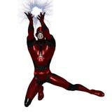 Figura do Scifi no bodysuit metálico que guarda a bola do plasma ilustração royalty free