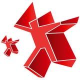 Figura do ser humano do homem vermelho do emblema do símbolo do logotipo Ilustração Royalty Free