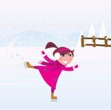 Figura do treinamento da menina da patinagem de gelo no lago ilustração royalty free