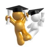 Figura doble del icono de la graduación del grado Foto de archivo libre de regalías