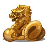 Figura dorata del drago Simbolo cinese dell'oroscopo Astrologia orientale Scultura isolata su fondo bianco Vettore illustrazione vettoriale