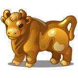 Figura dorata della mucca Simbolo cinese dell'oroscopo Astrologia orientale Scultura isolata su fondo bianco Vettore illustrazione di stock