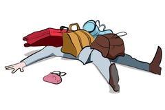 Figura dos desenhos animados oprimida pela bagagem Imagem de Stock Royalty Free