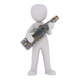 Figura dos desenhos animados que guarda a grande garrafa da cerveja ilustração royalty free