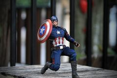 Figura dos superheros do capitão America Civil War fotografia de stock