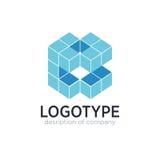 Figura elementi del cubo della lettera B del modello di progettazione dell'icona di logo Fotografie Stock Libere da Diritti