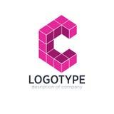Figura elementi del cubo della lettera C del modello di progettazione dell'icona di logo Fotografie Stock