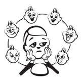Figura emociones de la serie - admiración del palillo ilustración del vector