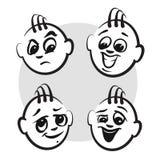 Figura emozioni di serie - fronti del bastone dei tipi illustrazione vettoriale