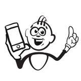 Figura emozioni di serie - ritratto del bastone del telefono cellulare royalty illustrazione gratis