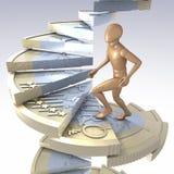 Figura en las escaleras euro de la moneda Imagen de archivo