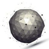 Figura esférica do contraste geométrico com rede de arame Imagens de Stock