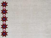 Figura estrella del ornamento del bordado de la lona del cáñamo Imagen de archivo