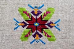 Figura estrella del ornamento del bordado del rombo del Rhombus del diamante de la lona del cáñamo Imágenes de archivo libres de regalías