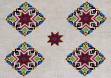 Figura estrella del ornamento del bordado del rombo del Rhombus del diamante de la lona del cáñamo Foto de archivo