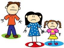 Figura familia infeliz del palillo Imagen de archivo