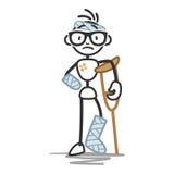 Figura fasciature del bastone di lesione dell'uomo del bastone illustrazione di stock