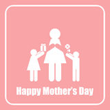Figura felice monocromio della mamma di festa della Mamma e del bastone dei bambini Immagini Stock Libere da Diritti