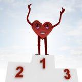Figura felicità del cuore e cerimonia di vittoria di salute Fotografia Stock