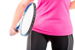 Figura femenina con una estafa en su mano para el tenis Fotografía de archivo