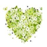 Figura floreale del cuore, verde di estate royalty illustrazione gratis