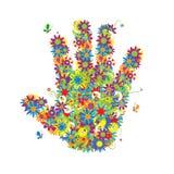 Figura floreale della mano. Fotografia Stock