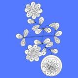 Figura floreale piega tradizionale dell'Europa centrale decorativa nello stile del cubista illustrazione di stock