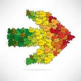 Figura foglie colorate sotto forma di una freccia Immagine Stock
