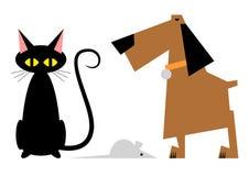 Figura gato, cão e rato ilustração do vetor