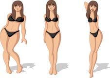 Figura grassa ed esile della donna Fotografia Stock