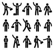 Figura grupo da vara do ícone do homem de negócio Trabalhador de escritório que está com a pasta em várias poses ilustração royalty free
