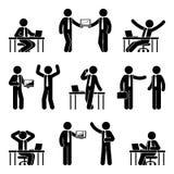 Figura grupo da vara do ícone do homem de negócio Vector a ilustração do homem no local de trabalho isolado no branco ilustração do vetor