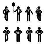 Figura grupo diferente da vara da posição comer Vector a ilustração do pictograma do sinal do símbolo do ícone da pessoa do petis ilustração royalty free