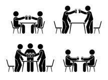 Figura hombres del palillo que beben el icono de la cerveza Celebración feliz del pictograma de la gente joven Ilustración del Vector