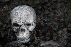 Figura humana del cráneo que pone en la tierra: Estilo blanco y negro Foto de archivo libre de regalías