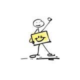 Figura humana del palillo del garabato del bosquejo del dibujo de la mano stock de ilustración