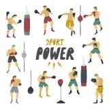 Figura humana en soporte del hombre fuerte del movimiento en diversas actitudes con los guantes de boxeo y el bolso de la sejeció stock de ilustración