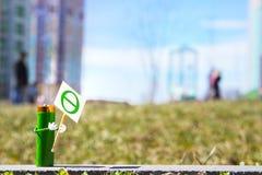 A figura humanizada feita da bateria do AA realiza no cartaz das mãos com o símbolo do Dia da Terra Conceito do feriado Copie o e Imagem de Stock Royalty Free