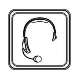figura icono del servicio del auricular del emblema Fotografía de archivo