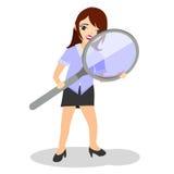 Figura illustrata della donna che cerca qualcosa Immagine Stock