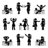 Figura insieme del bastone dell'icona della donna di affari Vector l'illustrazione della femmina nel luogo di lavoro isolato su b royalty illustrazione gratis