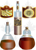 Figura insolita delle bottiglie e dei contrassegni Immagini Stock