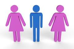 Figura masculina entre duas figuras fêmeas Foto de Stock