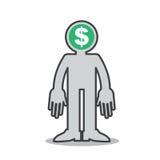 Figura mente dei soldi Fotografia Stock Libera da Diritti
