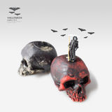 Figura miniatura malvada concepto de Halloween de la idea de la muerte imagen de archivo