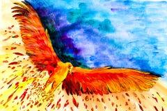 A figura mostra que o Firebird com suas asas largas abre Voa no meio da escuridão e da escuridão ilustração stock