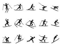 Figura nera icone del bastone di corsa con gli sci messe illustrazione di stock