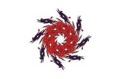 Figura nera rossa di frattale aggressivo astratto immagine stock