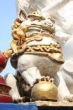 Figura oro blanco del dragón Imagenes de archivo